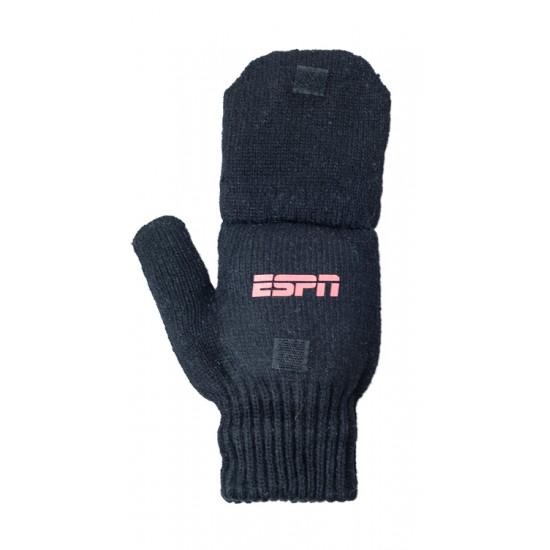 Black Ragg Wool Glomitt - Glove & Flip Mittens
