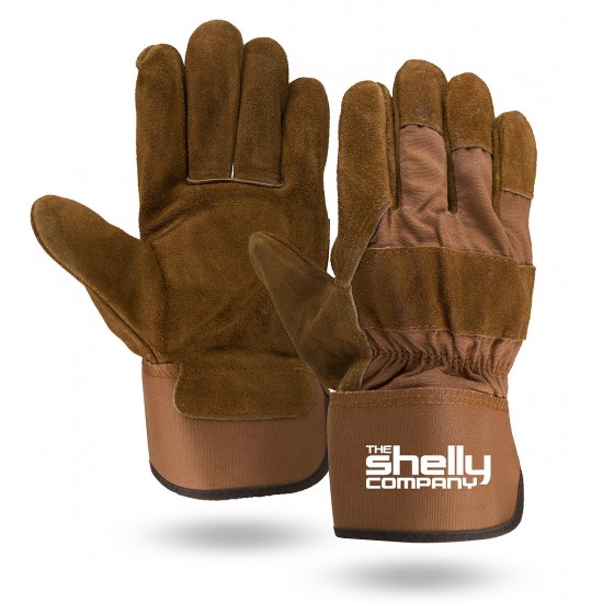 Brown Suede Cowhide Leather Palm Gloves with Safety Cuff