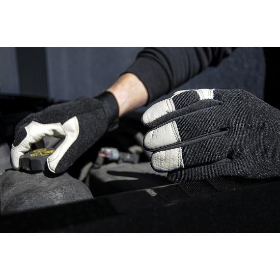 Leather Mechanics Gloves with Black Spandex