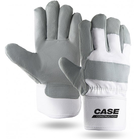 Suede Cowhide Leather Palm Gloves in White with Safety Cuff