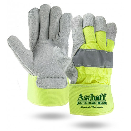 Suede Cowhide Leather Palm Gloves with High Visibility