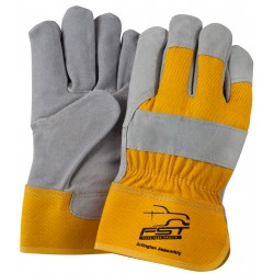 Suede Leather with Yellow Back Gloves