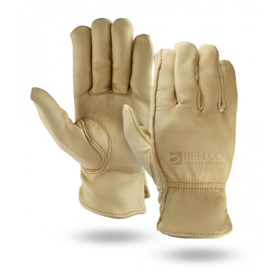 Water Repellent Premium Grain Cowhide Leather Gloves with Elastic Wrist