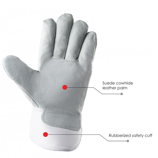 Waterproof and Lined Suede Cowhide Leather Palm Gloves